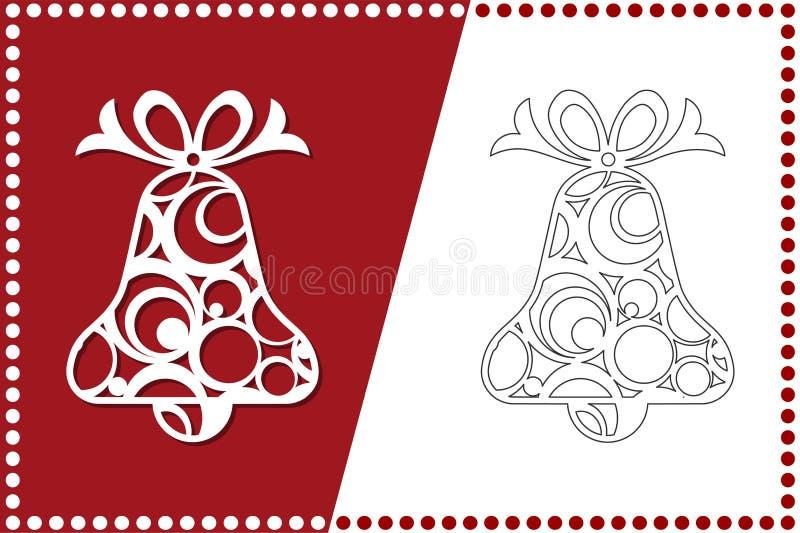 Modern julklocka Nytt års leksak för laser-klipp också vektor för coreldrawillustration stock illustrationer