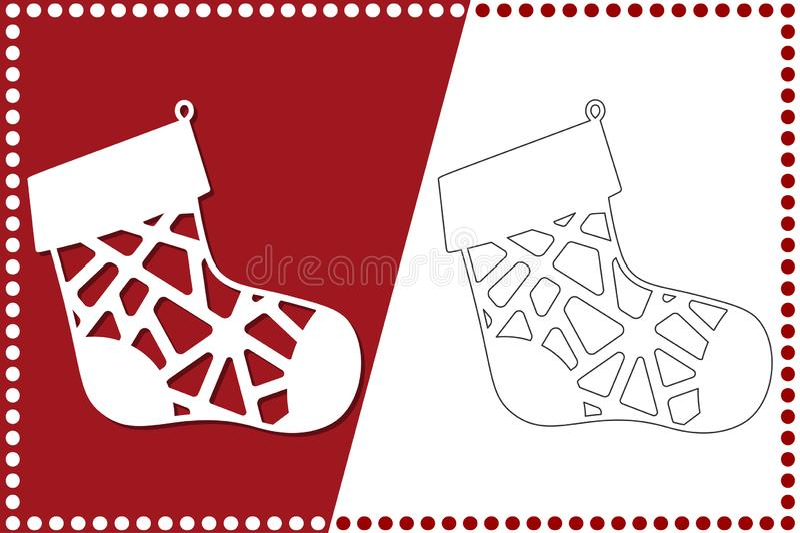 Modern julsocka Nytt års leksak för laser-klipp också vektor för coreldrawillustration stock illustrationer