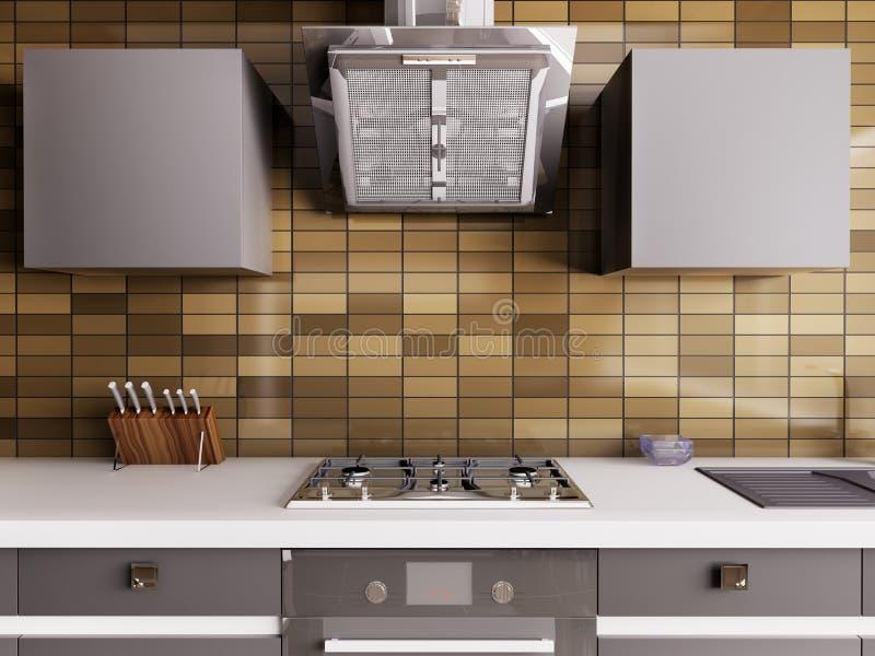 Download Modern kökinre 3d stock illustrationer. Illustration av grått - 37349840