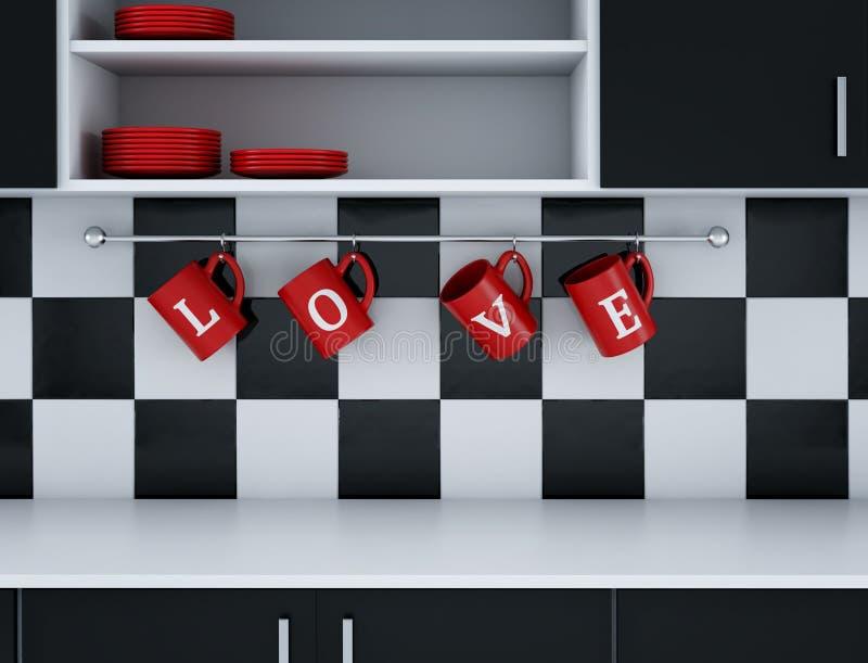 Modern kökvit- och svartdesign StValentine dag 3d framför vektor illustrationer