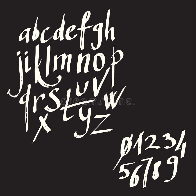 Modern kalligrafiborstebokstäver kort- eller affischdesign med unik typografi Skriftligt kalligrafialfabet för hand specificera vektor illustrationer