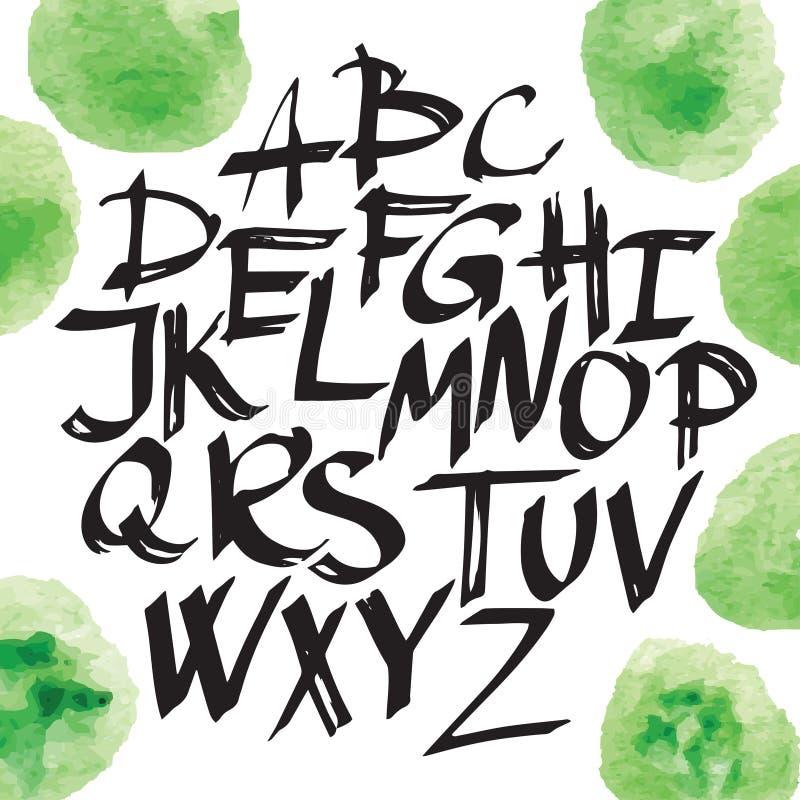 Modern kalligrafiborstebokstäver Vektorkort- eller affischdesign med unik typografi Skriftligt kalligrafialfabet för hand vektor illustrationer