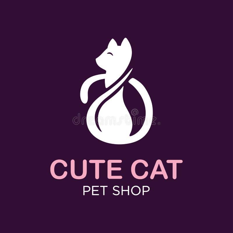 Modern katt för professonallogoillustration, älsklings- emblemdesign på svart bakgrund stock illustrationer