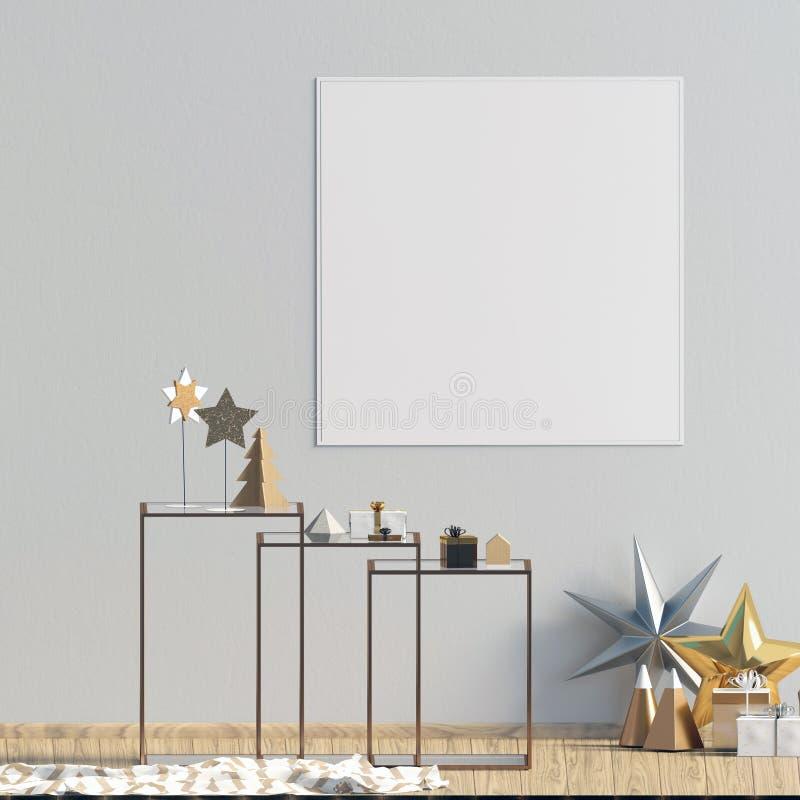 Modern Kerstmisbinnenland met koffietafel, Skandinavische stijl stock illustratie
