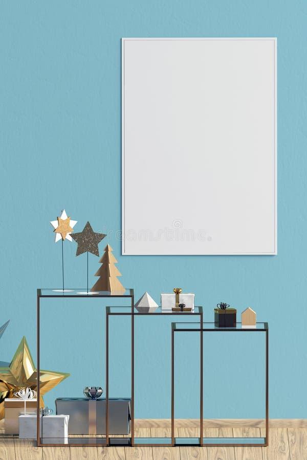 Modern Kerstmisbinnenland met koffietafel, Skandinavische stijl vector illustratie