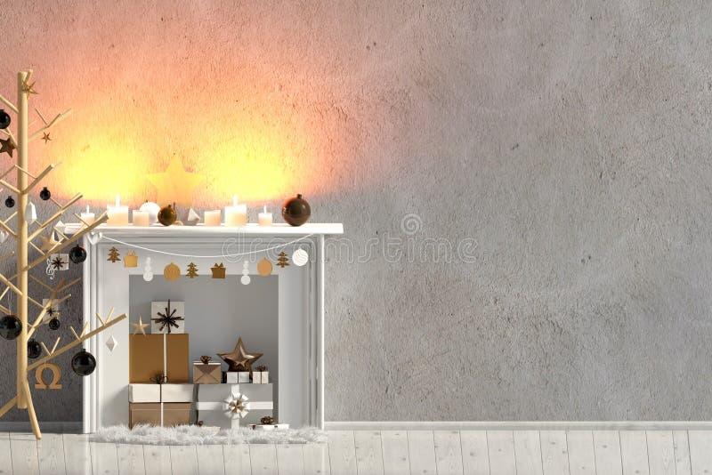 Modern Kerstmisbinnenland met open haard, Skandinavische stijl W stock illustratie