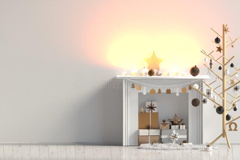 Modern Kerstmisbinnenland met open haard, Skandinavische stijl W royalty-vrije illustratie