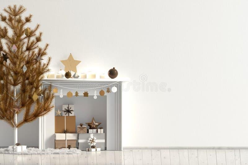 Modern Kerstmisbinnenland met open haard, Skandinavische stijl WA royalty-vrije illustratie