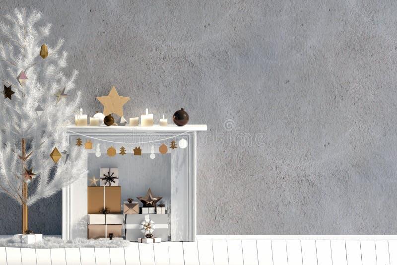 Modern Kerstmisbinnenland met open haard, Skandinavische stijl WA vector illustratie