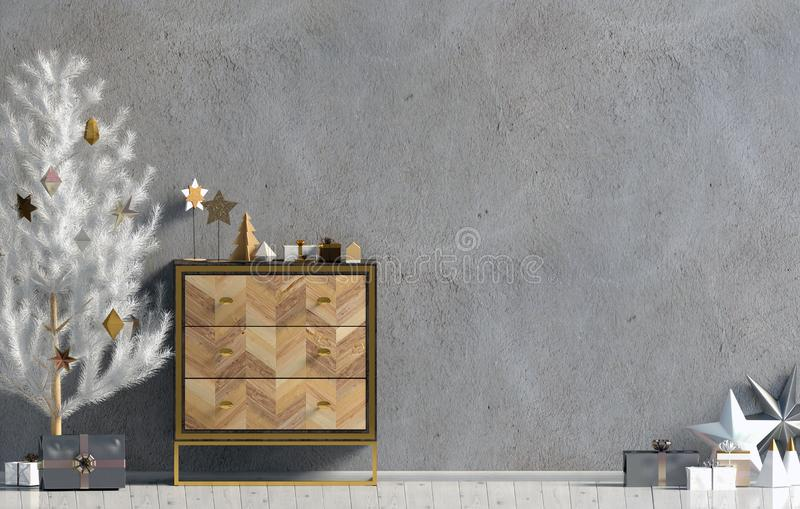 Modern Kerstmisbinnenland met opmaker en Kerstboom, Scand vector illustratie