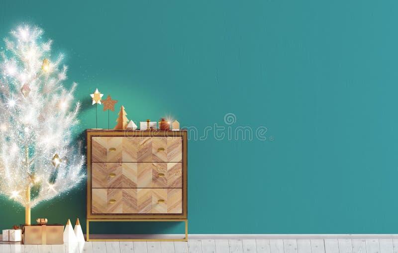 Modern Kerstmisbinnenland met opmaker en Kerstboom, Scand royalty-vrije illustratie
