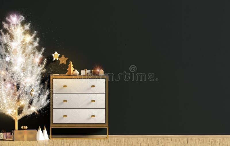 Modern Kerstmisbinnenland met opmaker en lichte Kerstboom, stock illustratie