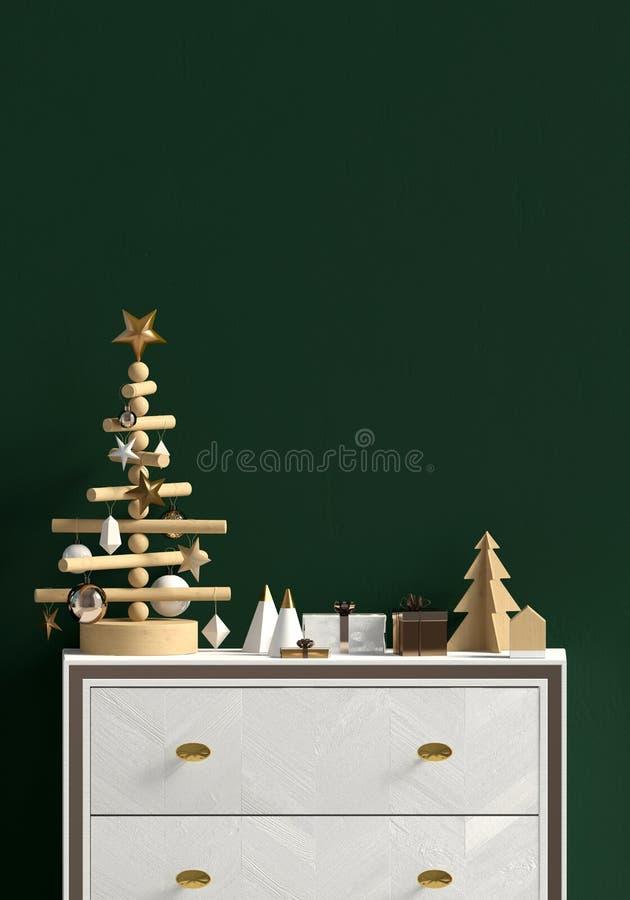 Modern Kerstmisbinnenland met opmaker, Skandinavische stijl muur stock illustratie