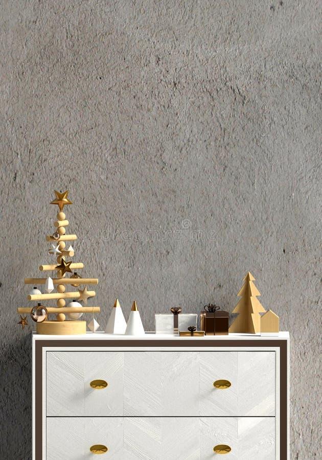 Modern Kerstmisbinnenland met opmaker, Skandinavische stijl muur vector illustratie