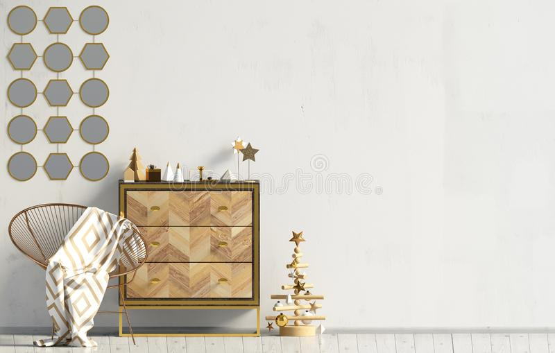 Modern Kerstmisbinnenland met opmaker, Skandinavische stijl muur royalty-vrije illustratie