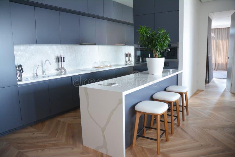 Modern keuken binnenlands ontwerp met hardhoutvloeren in luxehuis stock foto