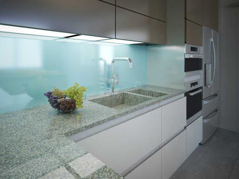 Modern keuken schoon binnenlands ontwerp stock foto's