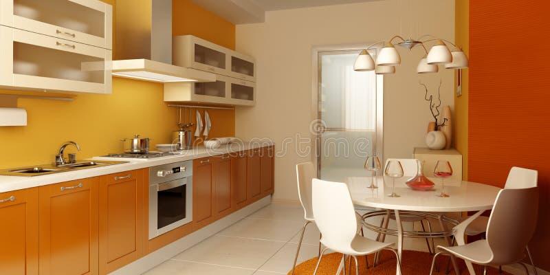 Modern keukenbinnenland stock illustratie