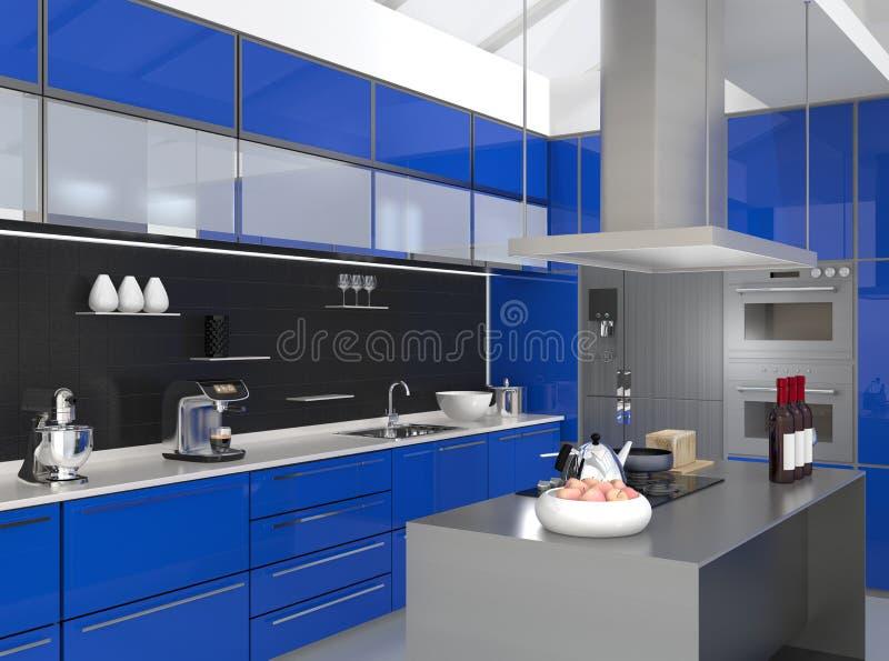 Modern keukenbinnenland met slimme toestellen in blauwe kleurencoördinatie stock illustratie