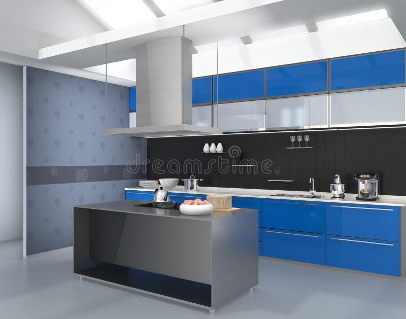 Modern keukenbinnenland met slimme toestellen in blauwe kleurencoördinatie vector illustratie