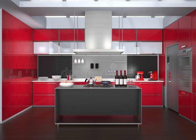 Modern keukenbinnenland met slimme toestellen in rode kleurencoördinatie vector illustratie