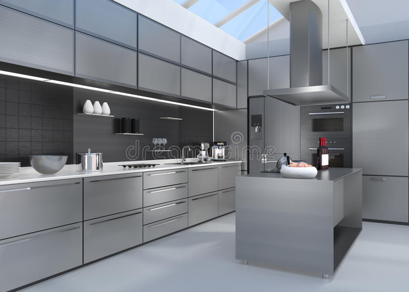 Modern keukenbinnenland met slimme toestellen in zilveren kleurencoördinatie stock illustratie