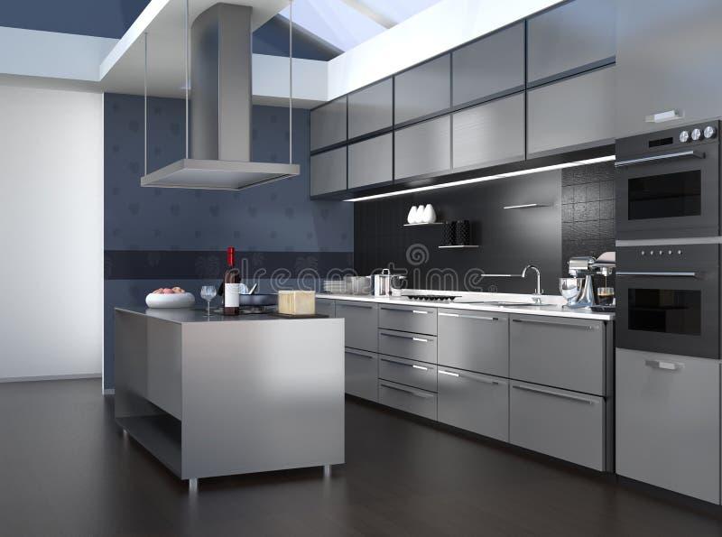 Modern keukenbinnenland met slimme toestellen in zwarte kleurencoördinatie vector illustratie