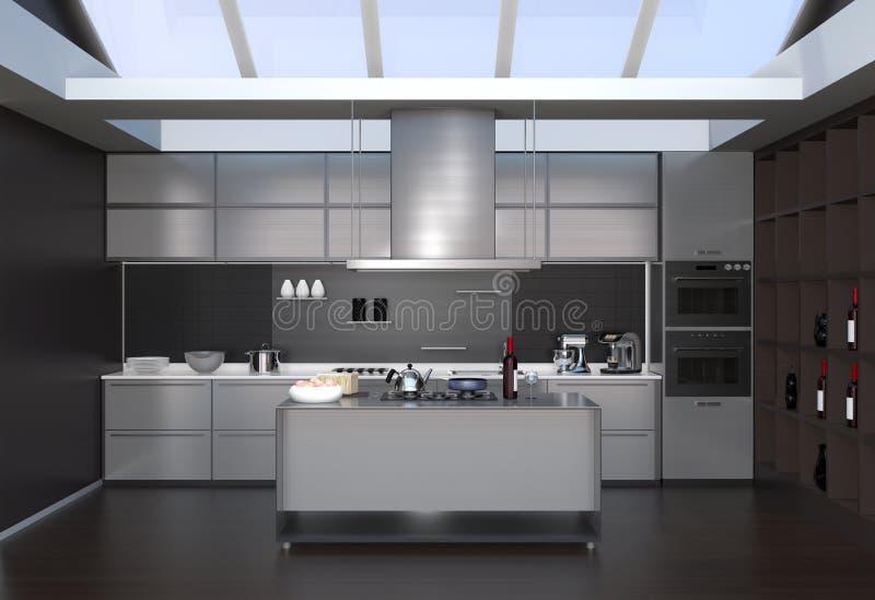 Modern keukenbinnenland met slimme toestellen in zwarte kleurencoördinatie stock illustratie