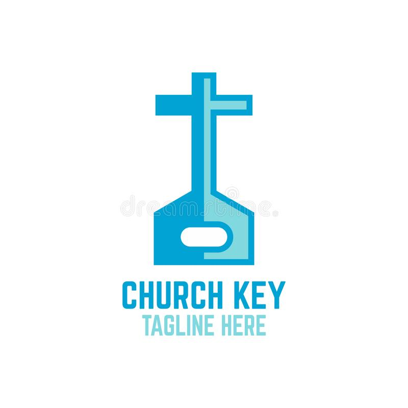 Modern key and church logo royalty free illustration