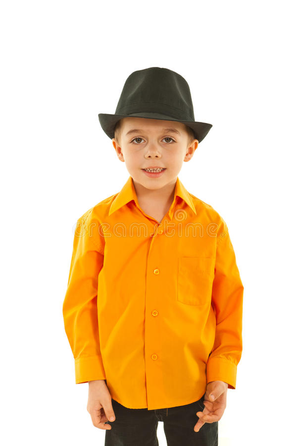 Modern kid boy with black hat royalty free stock images