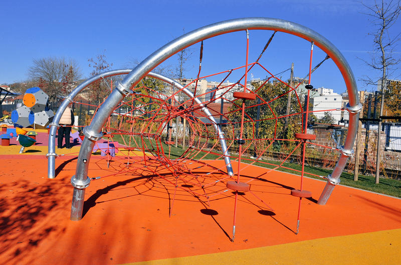 Modern kids playground. With colorful equipment stock images