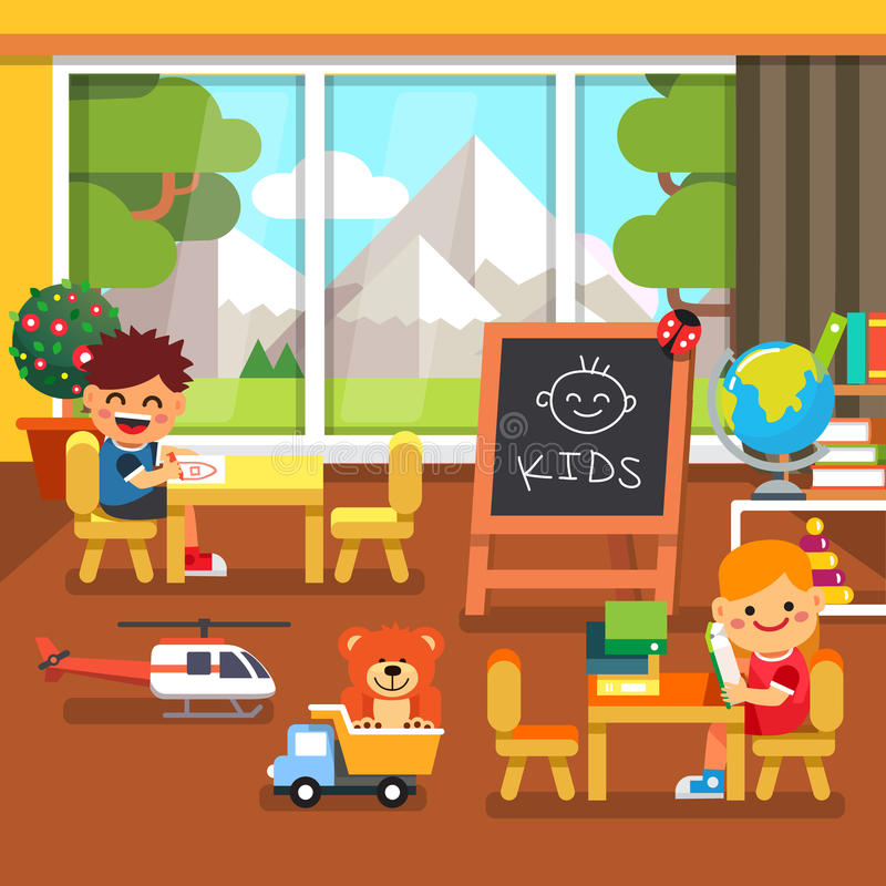 Modern Classroom Clipart : Modern kindergarten playroom kids playing stock vector