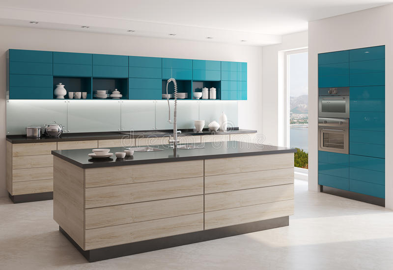 Modern kitchen. Interior of modern kitchen. 3d render. Photo behind the window was made by me