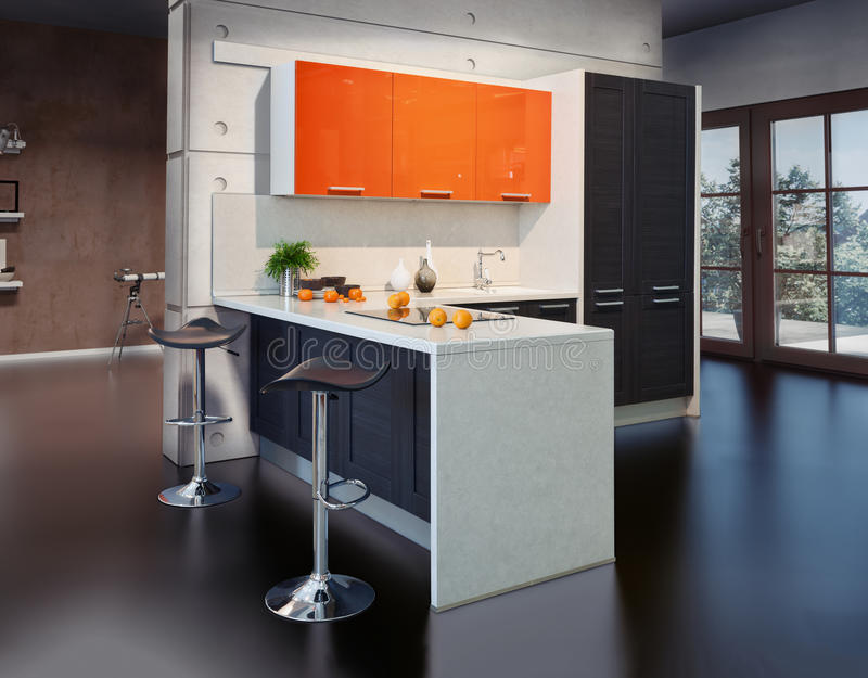 Modern kitchen. Interior photo (photo compilation elements royalty free stock photos