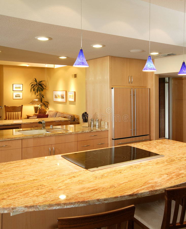 Modern Kitchen. A modern kitchen that has been freshly remodeled royalty free stock image