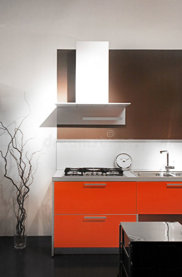 Modern kitchen. The modern furniture on the kitchen royalty free stock image