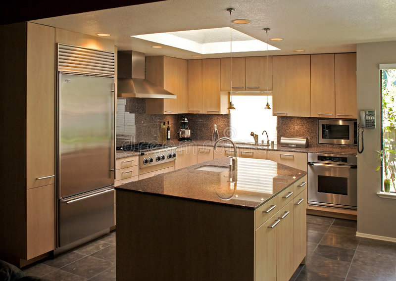 Modern Kitchen. A modern kitchen that has been freshly remodeled stock image