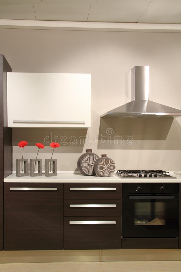 Modern kitchen with abstract and minimalist decorations stock photos