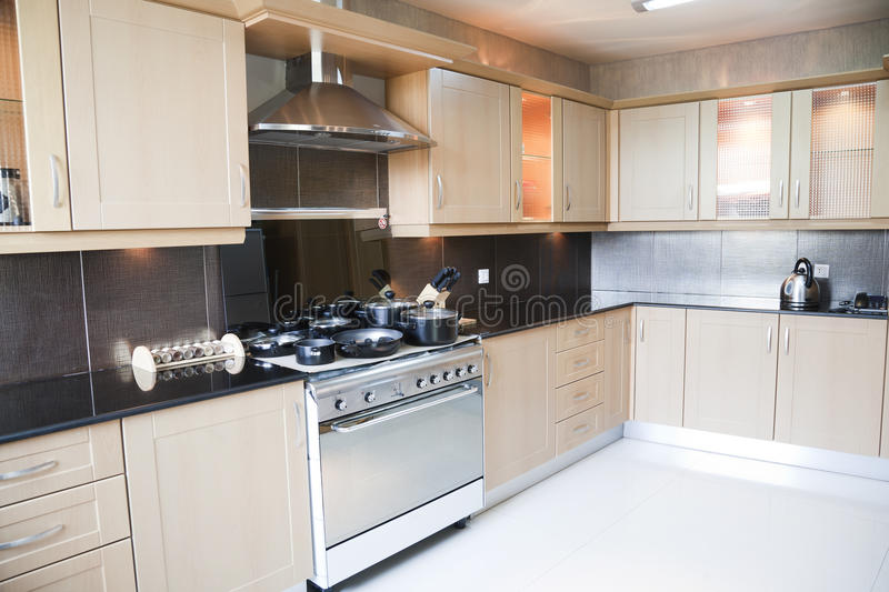 Modern kitchen in an apartment royalty free stock image