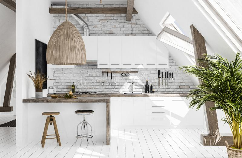 Modern kitchen in attic, Scandi-boho style stock photos