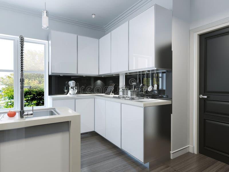 Modern kitchen-bar royalty free illustration