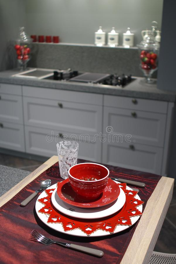 Modern kitchen with breakfast table. stock images