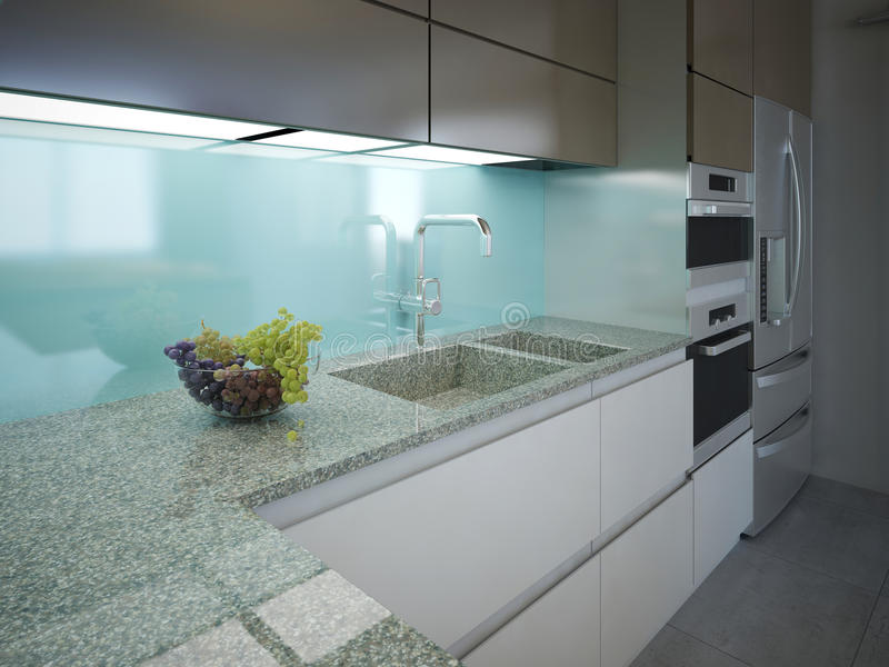 Modern kitchen clean interior design stock photos
