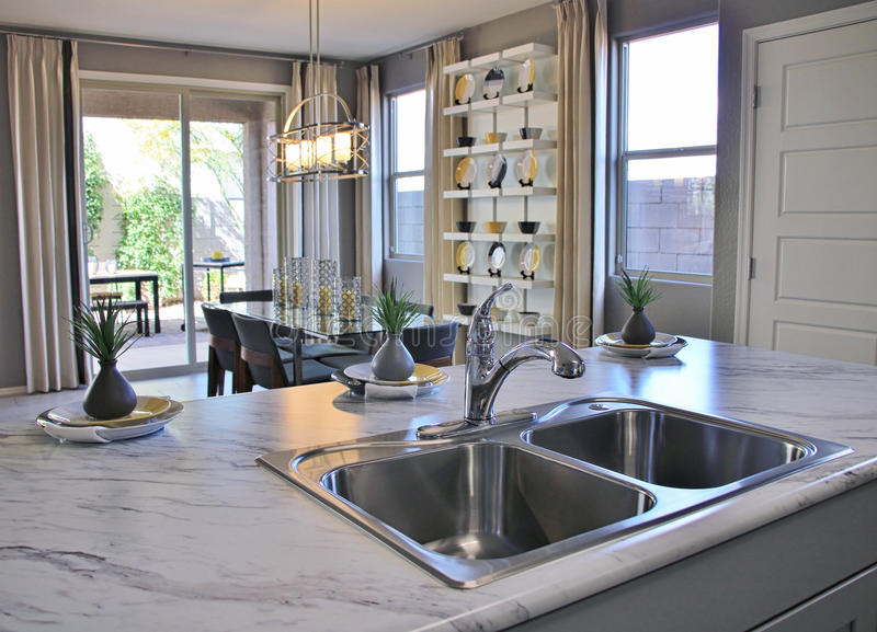 Modern Kitchen and Dining Room royalty free stock photography