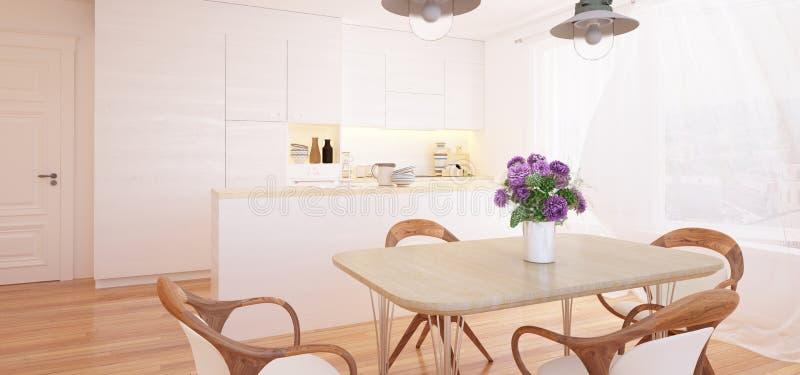Modern kitchen and dining room interior vector illustration