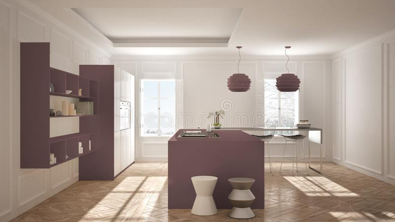Modern Kitchen Furniture In Classic Room, Old Parquet, Minimalis ...