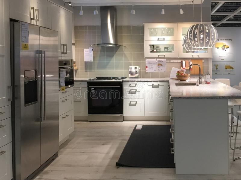 Modern kitchen design with counter at furnishing store IKEA. Modern kitchen furniture for sale at store IKEA, TX USA stock photography