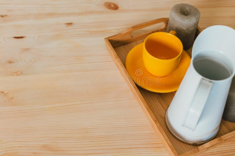 Modern kitchen at home with kitchenware royalty free stock image