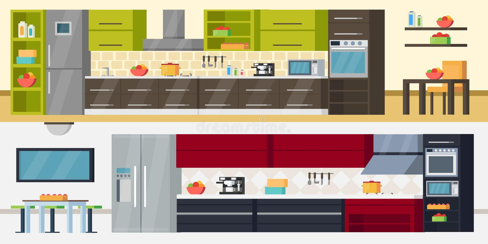 Modern Kitchen Horizontal Banners. With furniture appliances and accessories for modern interior design project vector illustration royalty free illustration