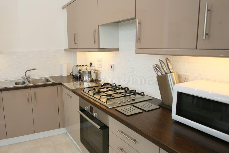 Modern Kitchen Interior. Luxury kitchen interior with modern integrated appliances royalty free stock photos